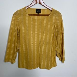 4/$25 W5 yellow 3/4 sleeve blouse
